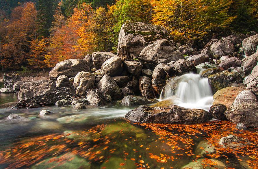 Increíbles colores del otoño en los pirineos.